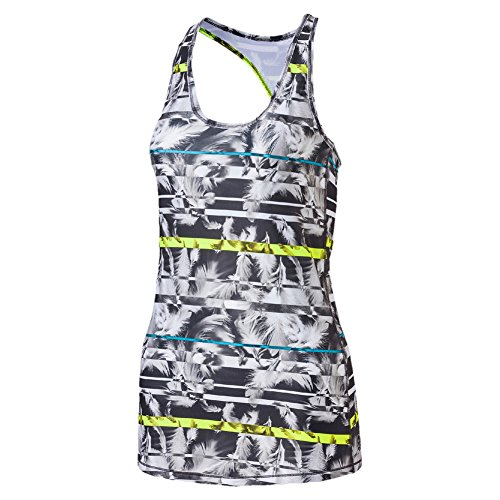 Puma Damen Essential Layer Graphic Tank Top, Periscope/Blue Atoll/Feather Print, S (Gebogenen Saum)
