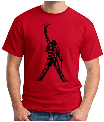 OM3 - FREDDY-JACKSON - T-Shirt KULT HORROR GRUSEL MOVIE FRED ZOMBIE AMERICA POP MUSIC PARODY GEEK, S - 5XL Rot
