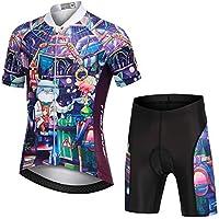 LSHEL Niños Niñas Secado Rápido Maillot de Ciclismo Conjunto de Jersey Manga Corta + Pantalones Cortos Transpirable Ciclismos Traje, Gato mágico, 10-11años/EU: L(Etiqueta: XL)