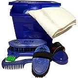 Haas Kinderputzbox Kinder-Putzkasten in blau gefüllt mit Kardätsche Striegel Mähnen- und Waschbürste Hufkratzer und Mähnenkamm