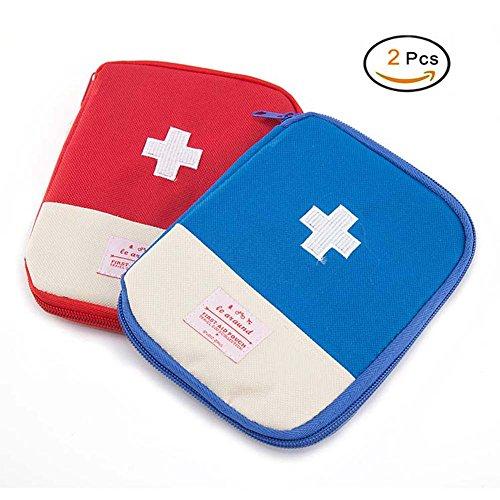Mini-Erste-Hilfe-Kit Tasche, 2 Stück tragbare Medizin Aufbewahrungstasche Medikament Verpackung Tasche für Outdoor-Reisen - rot und blau (Rot+Blau)