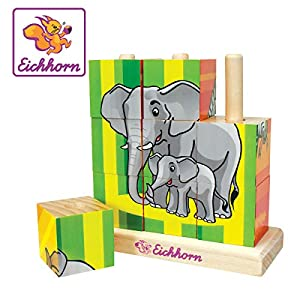Eichhorn 100003623 - Rompecabezas de Madera Picture Cube, 9 Cubos (Simba Dickie)