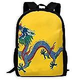 TTmom Schulrucksack,Schüler Bag,Rucksack Damen Herren Backpack Imperial China Flag Zipper School Bookbag Daypack Travel Rucksack Gym Bag for Man Women