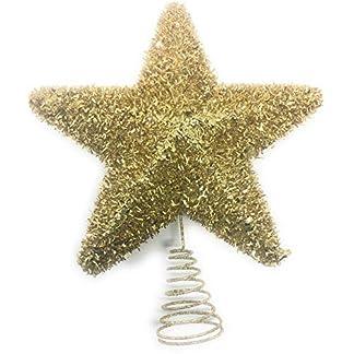 YLAB – Adorno para árbol de Navidad, Estrella de Oro de Oropel