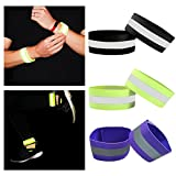 Reflektorbänder Reflektierende Lauf-Armbinden Gummizug-Armbinden Reflektierende Sicherheits Armband Knöchel-Bänder mit Klettverschluss Erwachsene und Kinder 2er Set,...