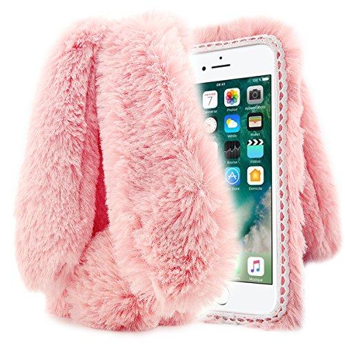 Apple iPhone 7 Hülle, Fraelc® iPhone 7 Hülle [Hasenohren Serie] Handyhülle Kuschelhasen Bunny Design Case Weiche Silikonhülle Spitze Rahmen Schutzhülle für iPhone 7 Hülle (4,7 Zoll) in Rosa Rosa