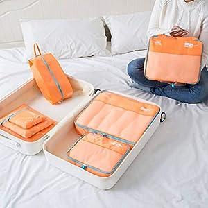 Hiistandd 7 Set Voyage Sacoche Stockage Nylon Étanche Respirant De Valise Vêtement Rangement Sacs Bagages Organisateur