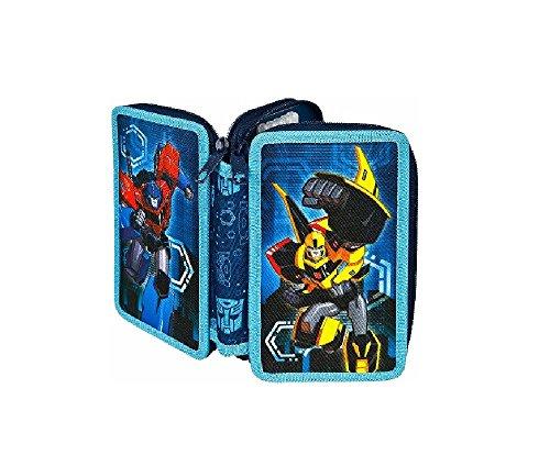 Transformers astuccio 2zip imbottito–blu–astuccio portapenne imbottito per l' inizio della scuola–con una cerniera ideale anche per la scuola materna in asilo