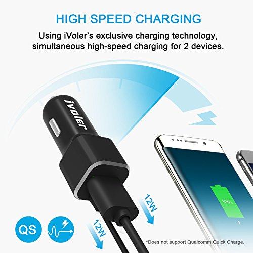 iVoler 24W/4.8A 2 Porte USB Caricabatteria Rapido da Auto con Cavo a Spirale Micro USB di 1.5m, Caricatore Universale con Tecnologia Qsmart di Ricarica Rapida) per Apple iPhone/iPad, Samsung Galaxy Ce Nero