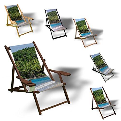 Printalio Strand und Plamen - Liegestuhl Bedruckt Balkon Garten Sonnenliege Relax Holz Terrasse |...