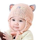 TININNA Invernale a maglia Caldo Carino Proteggere Orecchie Cappello per Bambini Berretto di lana(Rosa)