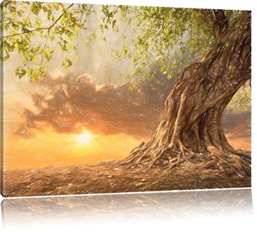 Verwurzelter starker Baum im Sonnenuntergang Kunst Buntstift Effekt, Format: 100x70 auf Leinwand,...