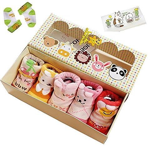 Lucky staryuan ® Prime Deals 5Paires Bébé Antidérapant Chaussette Coton Dessin animé Chaussettes (6-12mois, fille)