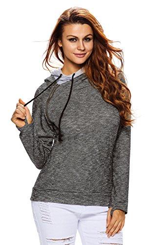 Dunkelgraue Sweatshirts (Heather - Dunkelgraues Sweatshirt mit Kapuze Größe 38-40)