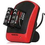 Wicked Chili GoPro Hero4 4in1 Set - Duo Ladegerät + 2 Akkus (Pro Series Batterie 1160mAh Typ AHDBT-401) + microUSB auf USB-A Ladekabel (für Hero4 Silver / Hero4 Black Actioncam), 4in1 Set - Dual Charger + 2x Akku + Ladekabel