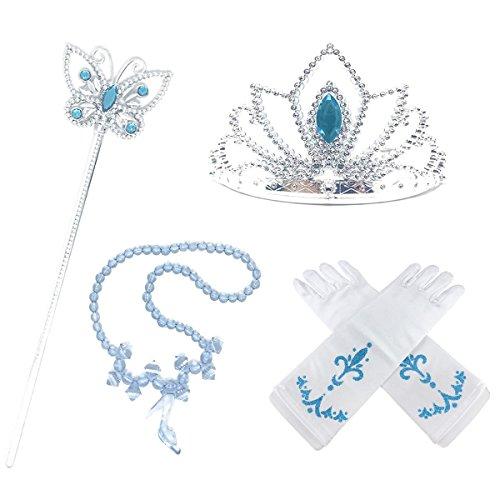 s Up Accessoires 4 Stück Krone Halskette Handschuhe Weiß Zauberstab Geschenkset für Mädchen Geburtstag Karneval-Partei Halloween Cosplay Prinzessin Kostüme ()