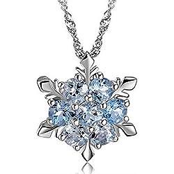 iDealhere Frozen Flocon de Neige Gelée Collier Pendentif en Femmes Cristal Collier (Bleu)