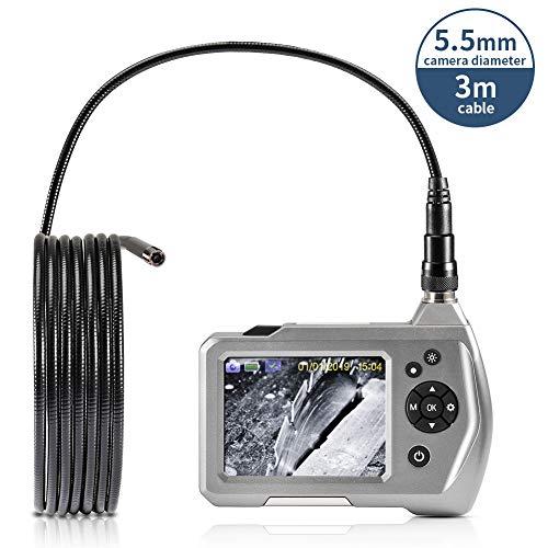 CrazyFire Hand Endoskop Inspektionskamera,Industrie-Endoskopkamera mit 3,5-Zoll-LCD-Bildschirm 5,5 mm Durchmesser Flexible Sonde Wasserdichte Kamera(3M)