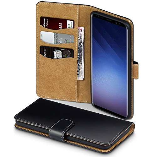 Coque Samsung S9 Plus, Terrapin Étui Housse en Cuir Avec La Fonction Stand pour Samsung Galaxy S9 Plus Étui – Noir/Brun