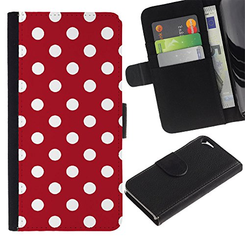 Graphic4You Polka Punkt Dots Muster Design Brieftasche Leder Hülle Case Schutzhülle für Apple iPhone SE / 5 / 5S (Marineblau) Rot
