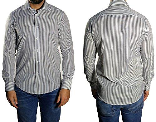 Streifen Herren Hemd Slim-fit/Tailliert Muga Schwarz