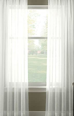 PURE WHITE Extra WIDE Sheer Plain Voile Curtain Window Panel 300cm ...