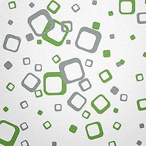 WANDfee® Wandtattoo 60 Vierecke FARBWUNSCH Farbe Hellgrün Grau Zweifarbig  Bunte Moderne Wanddeko Selbstklebende Retro Cubes