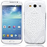 SMARTLEGEND Weiß Blume Bedrucken Muster Schlank TPU Handy Case für Samsung Galaxy S3 i9300 Flexible Weich Material Hülle Cover Extrem Dünne Transparente Silikon Schutzhülle mit Elegant Alte Stamme Segen Profil - Energie