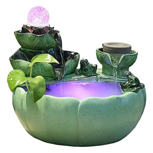 Fuente de Mesa de Cascada de relajación Interior Fuente de Feng Shui portátil con Bola LED en la Parte Superior for Oficina, Regalo de decoración del hogar