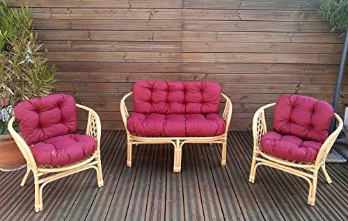 Mayaadi Home Gartenbankauflagen 6 Teiliges Sitzkissen-Set Sitzpolster für Gartengarnitur Set Steve Bordeaux JCG1