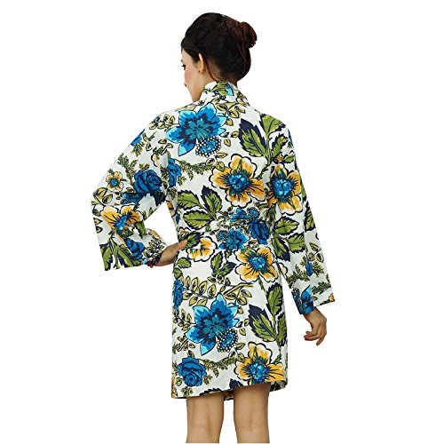 Demoiselle d'honneur Kimono Crossover Robe Spa Wrap courtes coton Robes Blanc