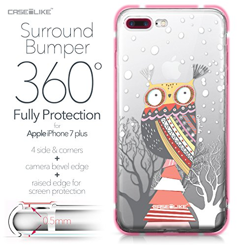 CASEiLIKE Coque iPhone 7 , Ultra Mince Crystal Case TPU Silicone Clair Transparente Exact Fit Soft Housse Etui Coque Pour iPhone 7 Chouette graphisme 3317