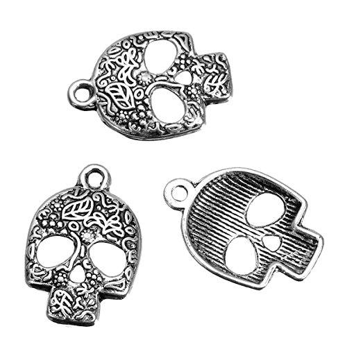 10x Candy Skulls Skull Halloween Tibetisches Silber Charms Anhänger Beads