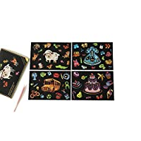 Scratch Art Paper Set,Cartoon Animal Patterned Rainbow Painting Scratch Notepad Book for Adults Children Mural DIY