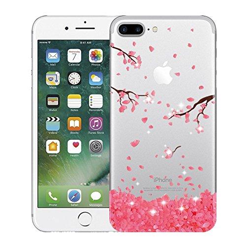 Qissy® TPU Cover iPhone 7 Plus 5,5 pollici Case marche popolari Anti-scratch Gel Silicone Custodia Cherry plum 6