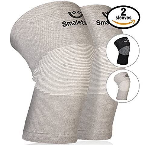 Smalets Bamboo Compression Knee Support Sleeves (1 Pair) –Powerful Joint Protection for Cross Training, Weightlifting, Running & More (Grey, M)