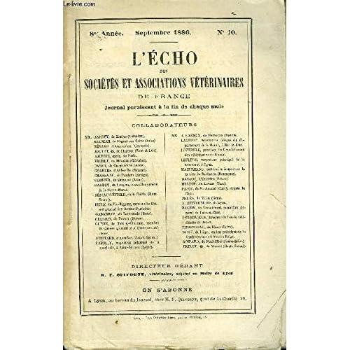 L'ECHO DES SOCIETES ET ASSOCIATIONS VETERINAIRES Septembre 1886