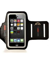 JAMhard Armband Armtasche für iPhone 5 / 5S / 5C, iPod Touch 5 + Schlüsselhalter (Schwarz) - Hohe Qualität Lauf, Training, Sport Case