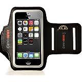 JAMhard Armband Funda con brazalete para iPhone 5/5s/5C, iPod Touch 5+ Llave plana (Negro)–Alta calidad unidad, entrenamiento, Sport Case