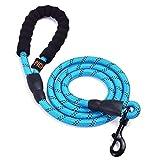 U-picks Hundeleine mit weich gepolsterten Griffen und hoch reflektierende Seil, 1,5 Meter lange, widerstandsfähige, geflochtene Leine für Hunde