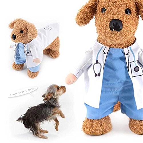 Cutogain Haustier Kleidung Katze Hund Cosplay Ärzte Kostüm Puppy weiß Gewand Funny Fell Party Kleid