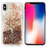 MUSESHOP Funda iPhone XS MAX, Purpurina Líquida Que Fluye Cubierta Brillante Carcasa Liquida Cristal TPU Gel Fina Arenas Movedizas - Canica