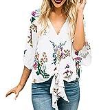 Damen Bluse FORH Schön Gedrucken Kurzarm T-Shirts Unregelmäßige Rüschensaum Shirts Sommer Strand Tops Lose Casual Oberteile Fashio Frauen Hemd (L, Weiß A)