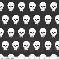 Fat Quarter Geekly Chic, colore: nero e Bianco, in cotone, tessuto di supporto per Quilting e teschi
