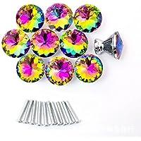 Moonli 10pcs colorido diámetro cristal pomos 30mm mango de tiradores para puerta armario, armario, cocina y baño gabinetes, persianas, etc