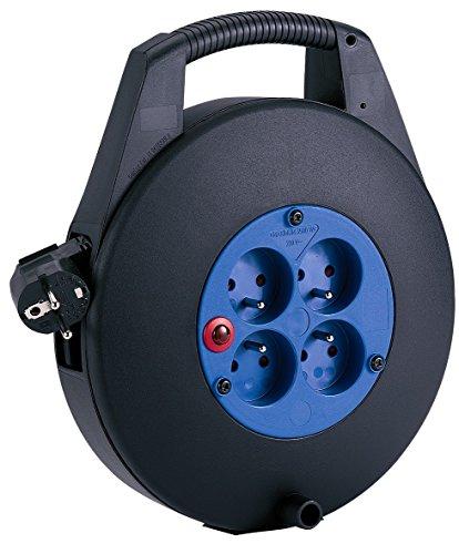 Brennenstuhl Cassette multiprise avec 4 prises 2P+T & 1 fiche 2P+T, enrouleur électrique avec câble H05VV-F 3G1,5 (10 m), noir, Quantité : 1