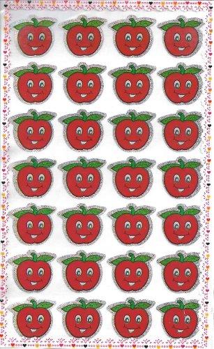 10 fogli di medie dimensioni Mela Rossa Adesivi glitterati (280 etichette)