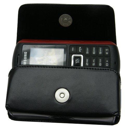 MTT Original Quertasche aus Echtleder mit Gürtelclip und Sicherheitschlaufe für Samsung B2100/B2700/E2370/SGH M110 schwarz