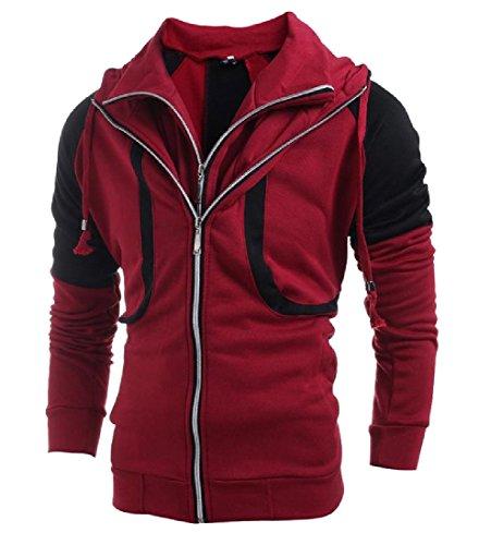 Tootlessly-Men Lapel Long Sleeve Zip Hti Color Hoodie Jacket Sweatshirt