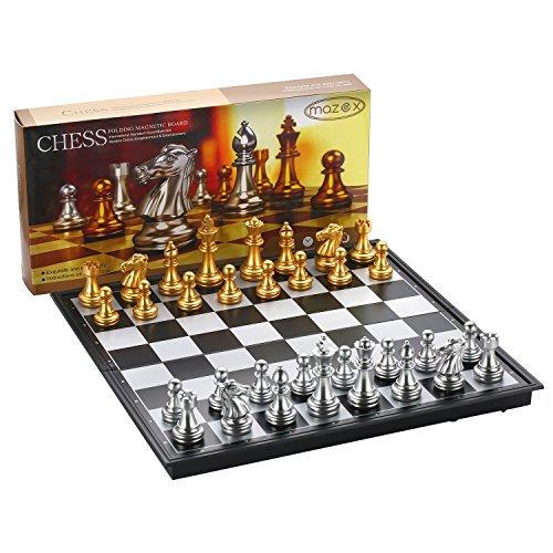 Faltende magnetische Reise Schach Set von MAZEX für Kinder oder Erwachsene Schach Brettspiel (12.5X12.5X0.8 Inch, Gold&Silver Chess Pieces)